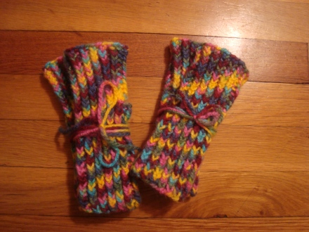 Two sets of mittens. Simple, but so cute in this yarn! :)